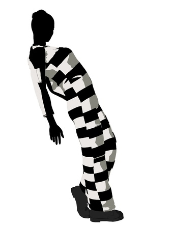 scandalous: Female criminal on a white background