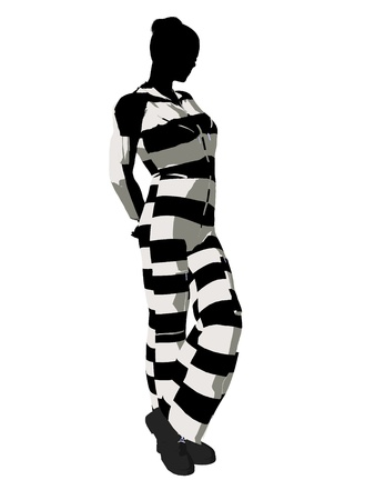sinful: Female criminal on a white background