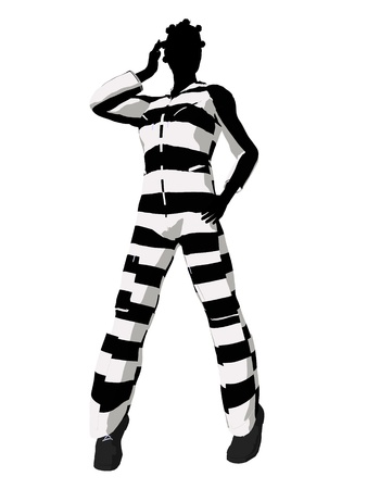 scandalous: African american female criminal on a white background Stock Photo