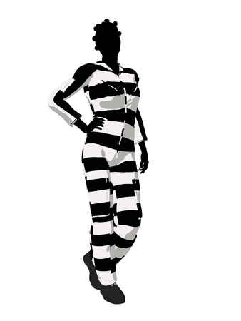 immoral: African american female criminal on a white background Stock Photo