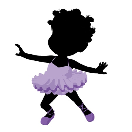 children silhouettes: Little african american ballerina girl on a white background Stock Photo