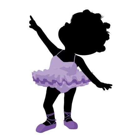 adolescent african american: Little african american ballerina girl on a white background Stock Photo