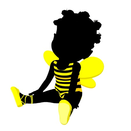 Little african american bumble bee girl on a white background photo