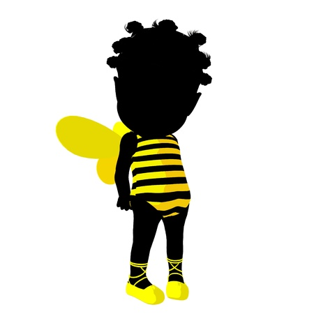 girl: Little african american bumble bee girl on a white background