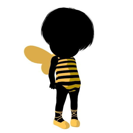 Little bumble bee girl on a white background photo