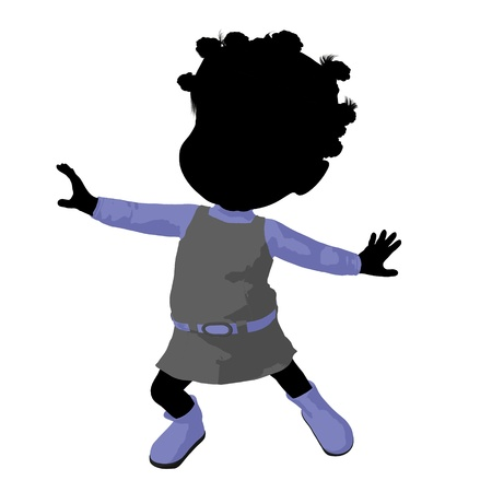 african american silhouette: Little african american go go dancer girl on a white background