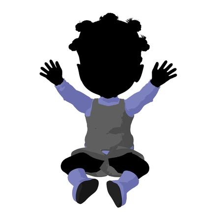 silhoette: Little african american go go dancer girl on a white background