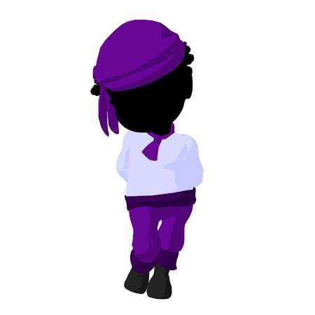wanderer: Little african american pirate girl on a white background