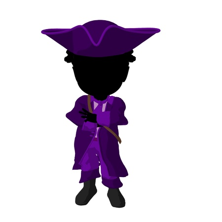 marauder: Little african american pirate girl on a white background