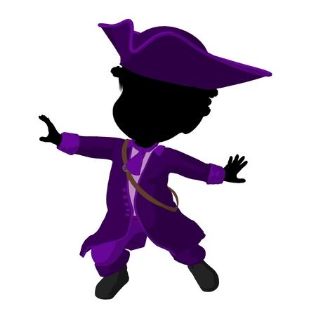 Little African American piraat meisje op een witte achtergrond Stockfoto