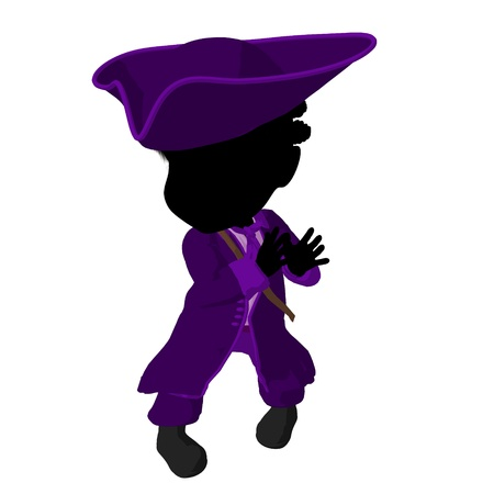 privateer: Little african american pirate girl on a white background