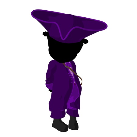 Little african american pirate girl on a white background