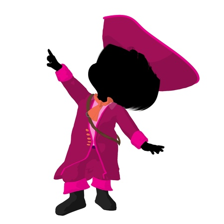 opportunist: Little pirate girl on a white background Stock Photo