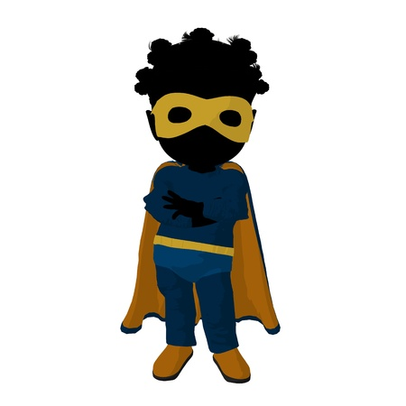 Little african american  hero girl on a white background photo