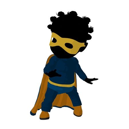 archnemesis: Little african american   hero girl on a white background