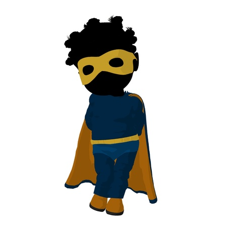 supervillian: Little african american  hero girl on a white background Stock Photo