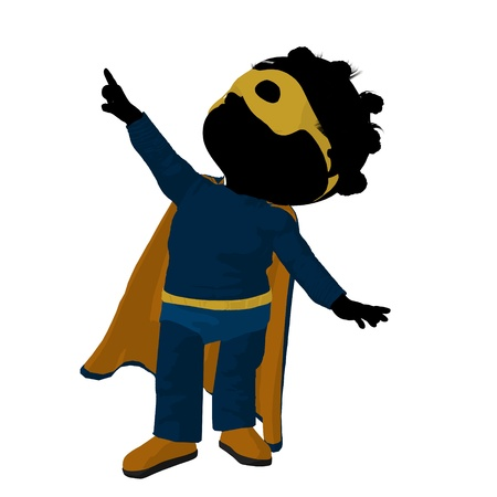 archnemesis: Little african american hero girl on a white background Stock Photo