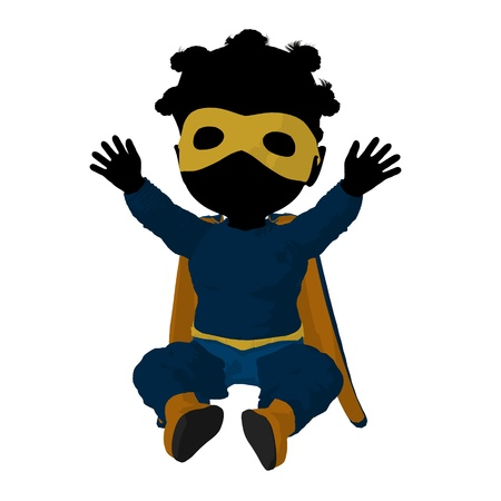 supervillian: Little african american   hero girl on a white background