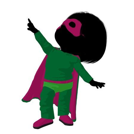 supervillian: Little  hero girl on a white background Stock Photo