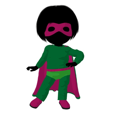 archnemesis: Little   hero girl on a white background Stock Photo