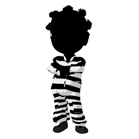 scandalous: Little african american criminal girl on a white background