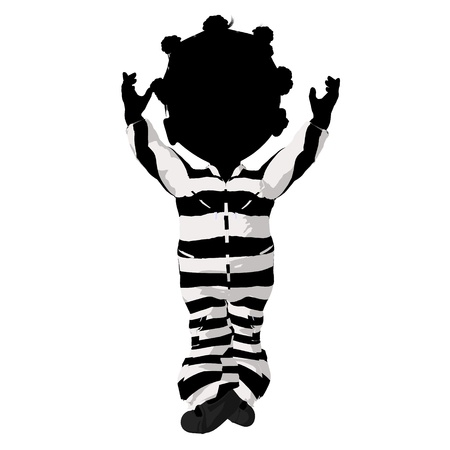 delinquent: Little african american criminal girl on a white background