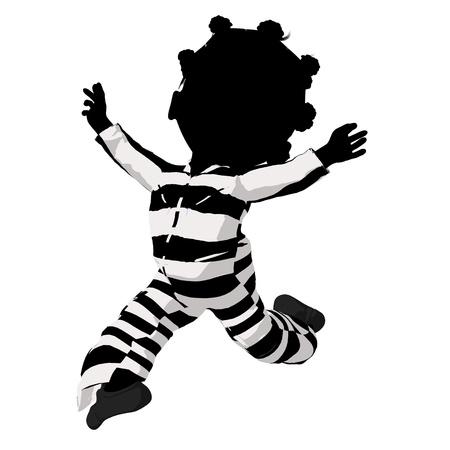 villainous: Little african american criminal girl on a white background