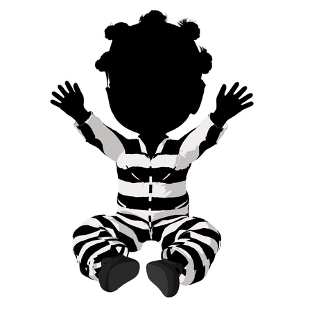 immoral: Little african american criminal girl on a white background