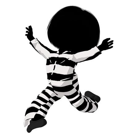 criminal: Little criminal girl on a white background