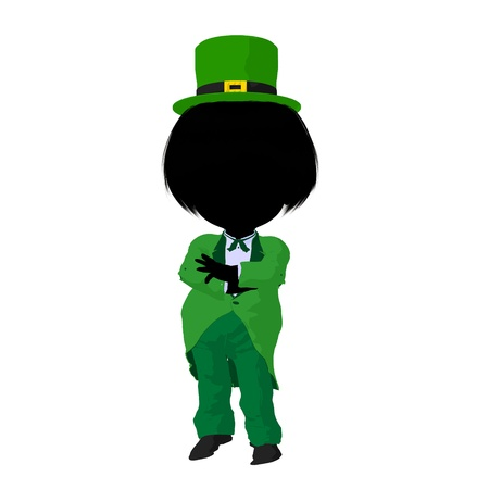 st pattys day: Little leprechaun girl on a white background