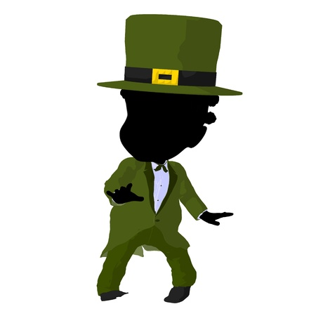 Little african american leprechaun girl on a white background photo