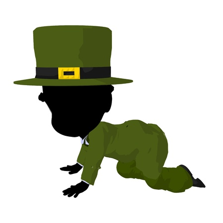 st pattys day: Little african american leprechaun girl on a white background