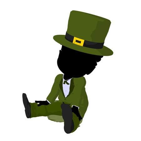 st pattys: Little african american leprechaun girl on a white background