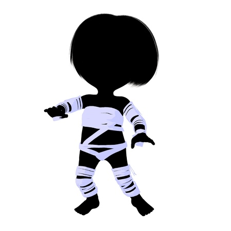 silhoette: Little mummy girl silhouette illustration on a white background Stock Photo