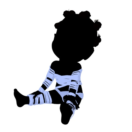 silhoette: Little african american mummy girl silhouette illustration on a white background