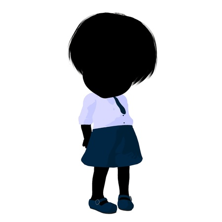 Little school girl on a white background