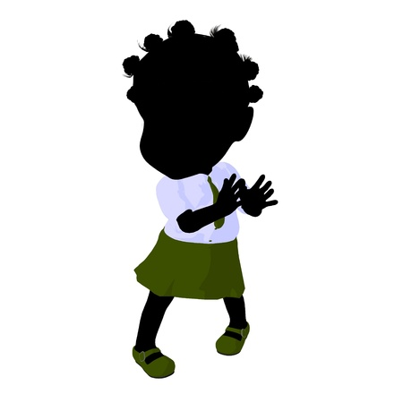 Little african american school girl on a white background