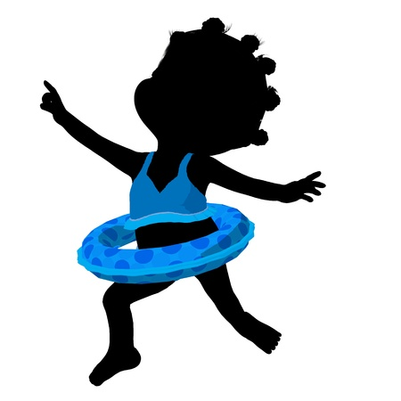 silhoette: Little african american swimsuit girl on a white background Stock Photo