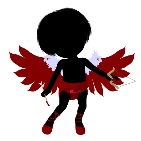 admirer: Little cupid girl on a white background