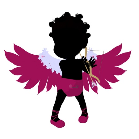 amore: Little african american cupid girl on a white background