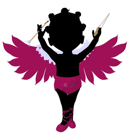 romance: Little african american cupid girl on a white background