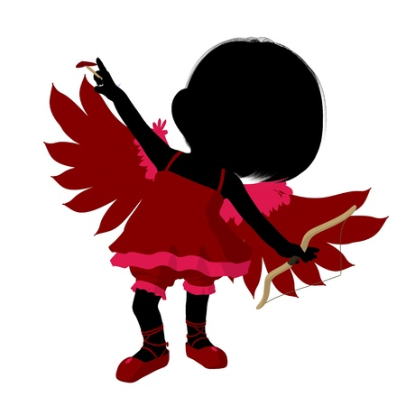 Little cupid girl on a white background