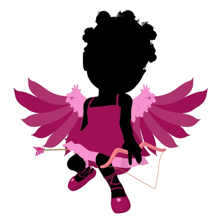 true love: Little african american cupid girl on a white background