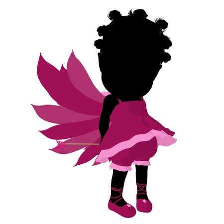 admirer: Little african american cupid girl on a white background