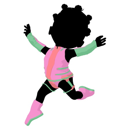 odyssey: Little african american sci fi girl on a white background