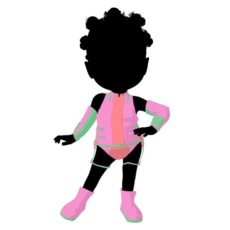 futurism: Little african american sci fi girl on a white background