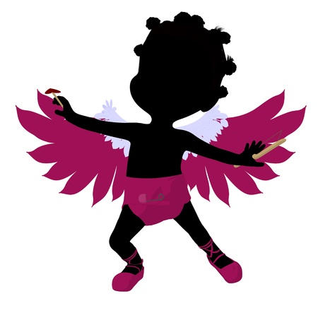 Little african american cupid girl on a white background
