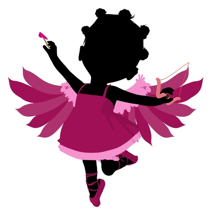 Little african american cupid girl on a white background photo