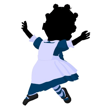 Little african american alice in wonderland illustration silhouette on a white background