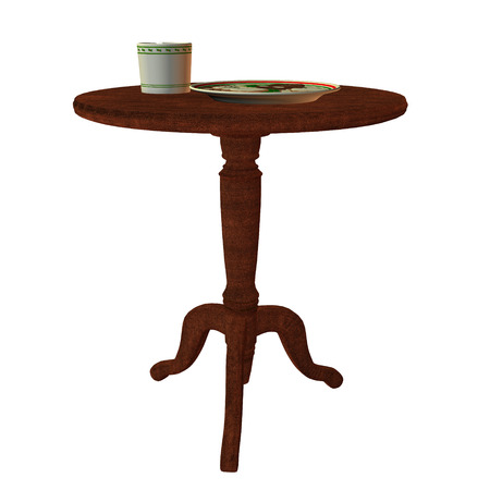 Round table with a plate and a cup